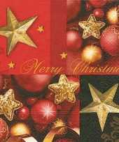 Kerstdiner servetten merry christmas 20 stuks kerstversiering
