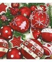 Kerstdiner servetten met kerstballen 20 stuks kerstversiering