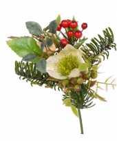 Kerststukje versiering witte helleborus 17 cm kerstversiering