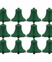 Kerstversiering klokjes groen van papier 12 stuks