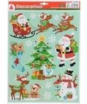 Kerstversiering raamsticker type 4 kerstman en sneeuwvlokken 29 x 41 cm
