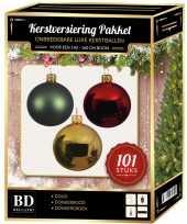Luxe complete versiering set goud mintgroen donkerrood voor 150 cm kerstboom kerstversiering