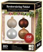 Luxe complete versiering set wit champagne bruin voor 180 cm kerstboom kerstversiering