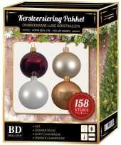 Luxe complete versiering set wit champagne donkerrood voor 180 cm kerstboom kerstversiering