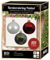 Luxe complete versiering set wit donkergroen donkerrood voor 150 cm kerstboom kerstversiering