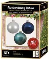 Luxe complete versiering set wit ijsblauw donkerblauw voor 150 cm kerstboom kerstversiering