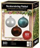 Luxe complete versiering set wit ijsblauw mahonie bruin voor 150 cm kerstboom kerstversiering