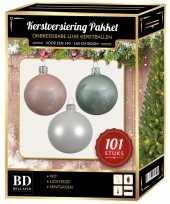 Luxe complete versiering set wit lichtroze mintgroen voor 150 cm kerstboom kerstversiering