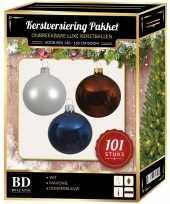 Luxe complete versiering set wit mahonie bruin donkerblauw voor 150 cm kerstboom kerstversiering