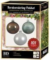 Luxe complete versiering set wit mintgroen kasjmier bruin voor 150 cm kerstboom kerstversiering
