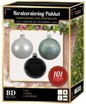 Luxe complete versiering set wit mintgroen zwart voor 150 cm kerstboom kerstversiering