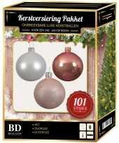 Luxe complete versiering set wit oud roze lichtroze voor 150 cm kerstboom kerstversiering