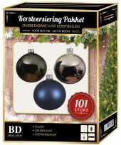 Luxe complete versiering set zilver grijsblauw donkerblauw voor 150 cm kerstboom kerstversiering
