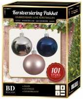 Luxe complete versiering set zilver lichtroze donkerblauw voor 150 cm kerstboom kerstversiering