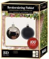 Luxe complete versiering set zilver met zwart voor 150 cm kerstboom kerstversiering