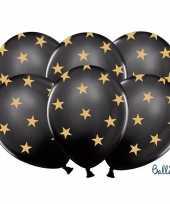Nieuwjaar ballonnen zwart met gouden sterren kerstversiering