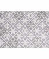 Organza zilver tafelkleed ruit patroon glitters 30 x 270 cm kerstversiering
