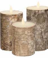 Set van 3x stuks bruin berkenhout led kaarsen met bewegende vlam kerstversiering