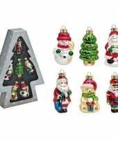 Set van 6 stuks kersthangers figuurtjes 8 cm kerstboomversiering kerstversiering