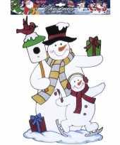 Sneeuwpop raamsticker herbruikbaar kerstversiering