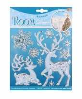 Winter decoratie raamstickers hert kerstversiering